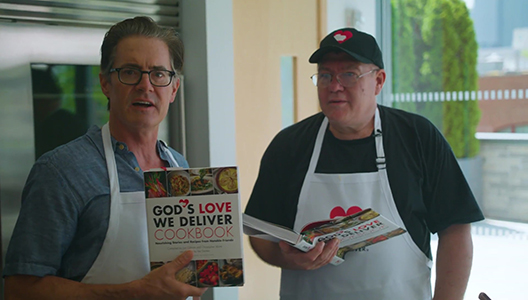 Kyle MacLachlan and Chuck The Baker make Father's Day waffles at God's Love